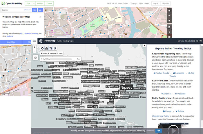 Trendsmap and OpenStreetMap screenshot