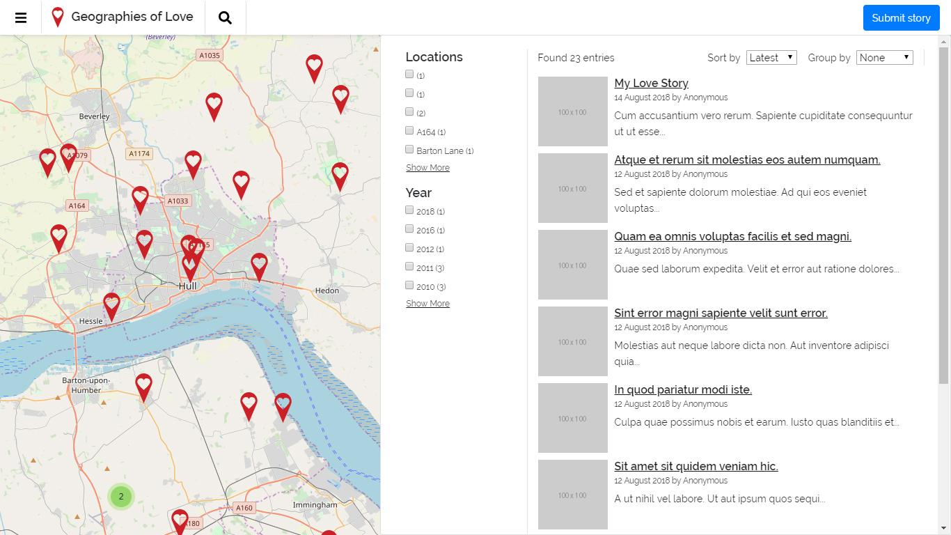 Geographies of Love platform - Explore page