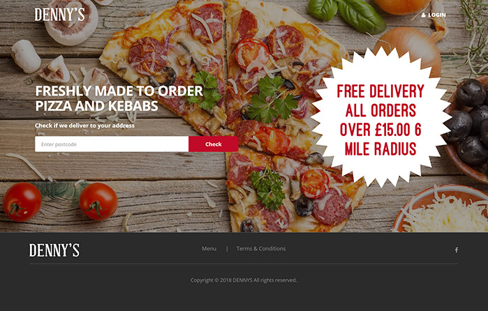 Dennys Pizza and Kebabs homepage