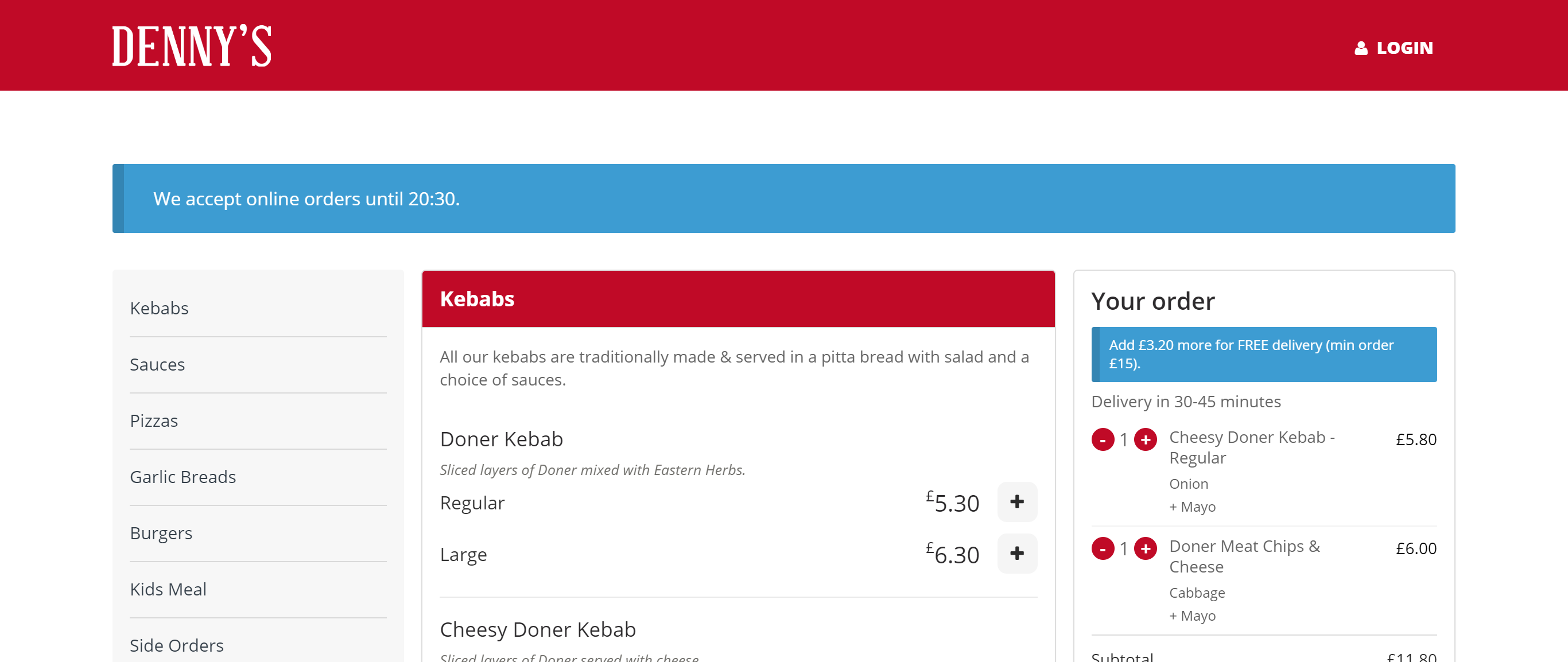 Denny's Pizza and Kebabs menu page screenshot