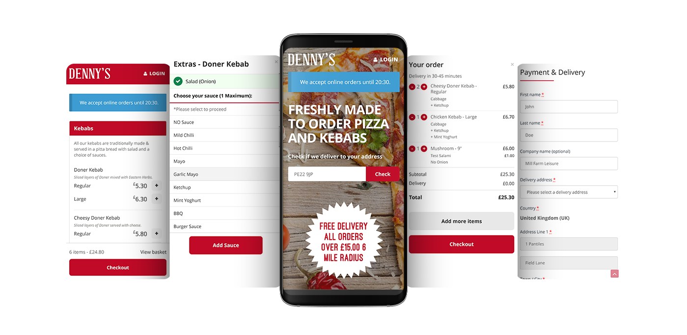 Denny's Pizza and Kebabs mobile mockup